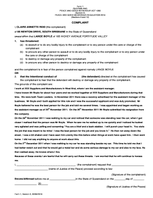 peace and good behaviour order qld application