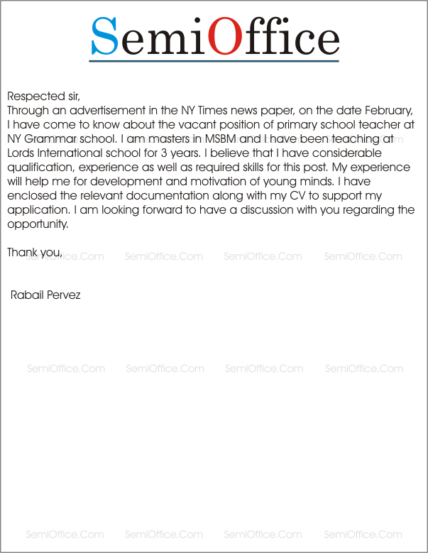 application for the post of primary teacher in school
