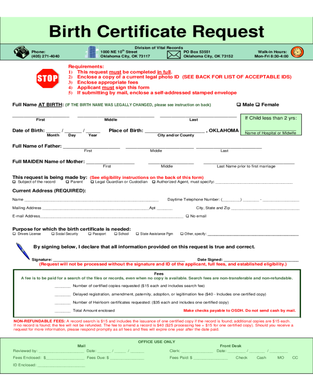 printable application form for replacement birth certificate