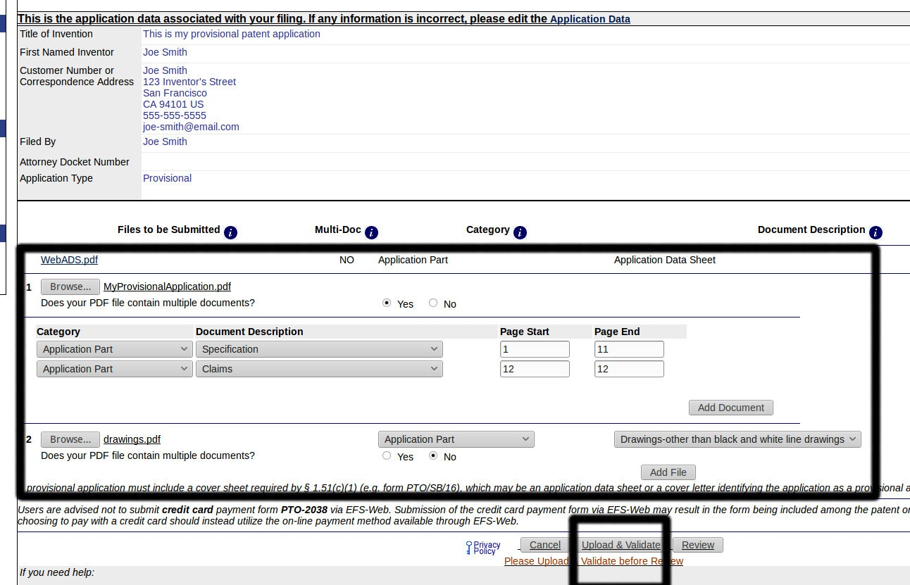provisional patent application number search