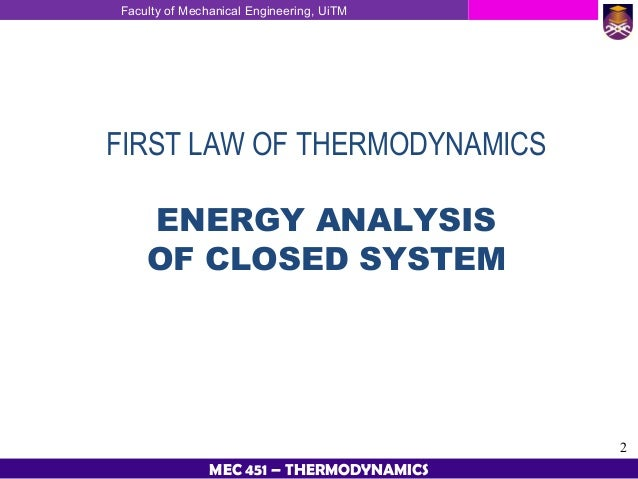 what are the applications of the first law of thermodynamics